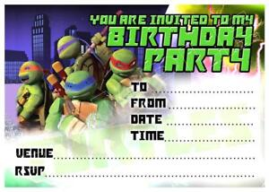 details about 1 x ninja turtles boys childrens blank diy birthday invitations free magnets
