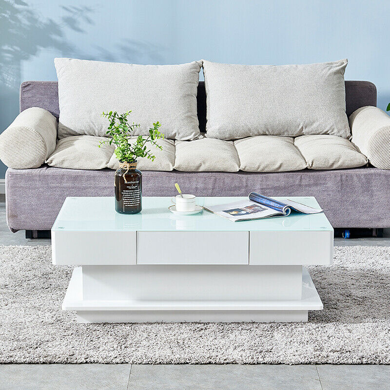 white 2 drawers coffee tables high