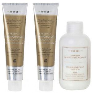 2x korres abyssinia superior gloss hair color plus free developer choose shade ebay