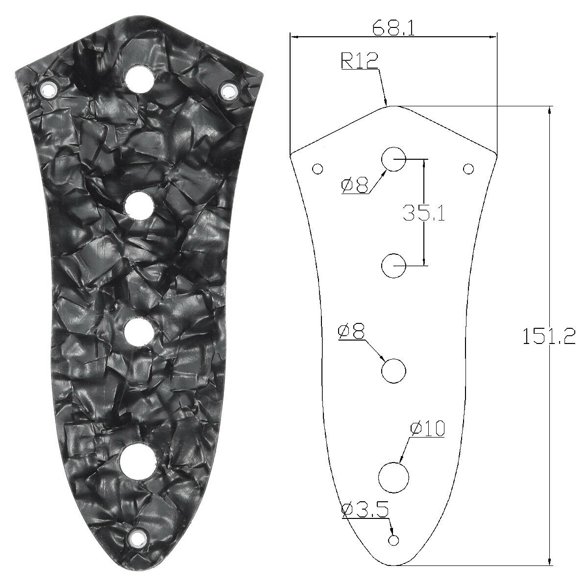 Control Plate For Jazz Bass Guitar 3ply Black Pearl 4 Hole