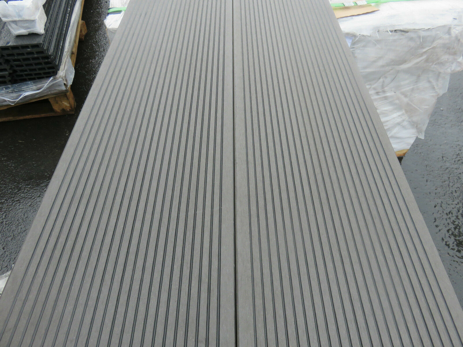 1X Bpc Klick Fliesen Terrassendielen Grau Anthrazit Holz Balkon