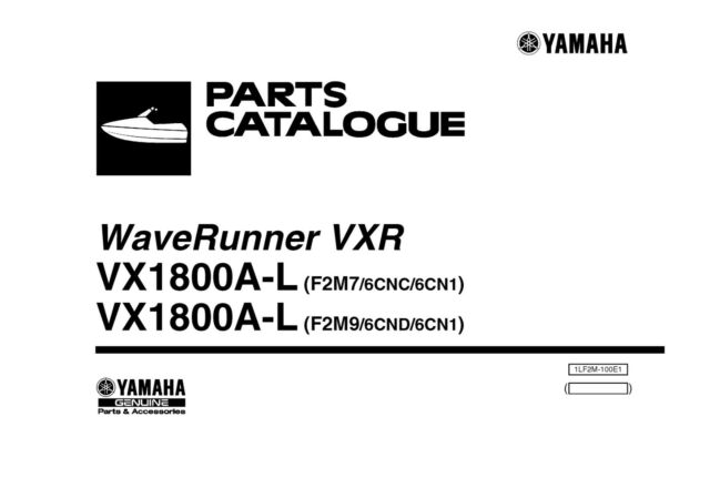 Yamaha WaveRunner Parts Manual Book 2012 VXR 1800 VX1800A