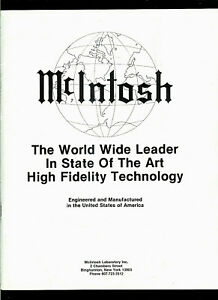 McIntosh High Fidelity Amplifiers Tuners Receivers