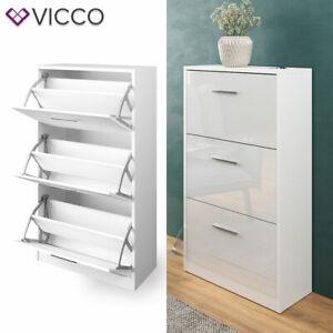 details sur vicco meuble a chaussures gizmo 3 compartiments espace de rangement blanc laque