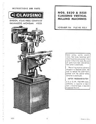 Clausing Vertical Milling Machines 8520, 8525 Manual Parts