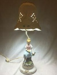 Lovely Vintage Victorian Boudoir Ceramic Table Lamp Girl