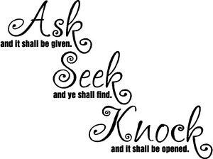 Ask Seek Knock Christian Bible Verse Vinyl Decal Sticker