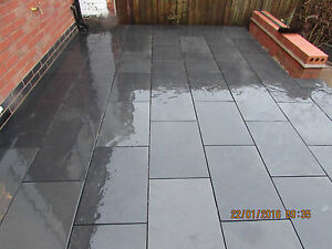 details about slate paving slabs patio floor tiles black 100x100 sample 15mm thick free del