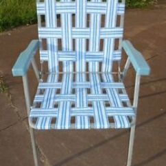 White Lawn Chairs Plastic Baby Shower Chair Rental Queens Ny Vintage Retro Folding Webbed Blue Metal Frame Image Is Loading
