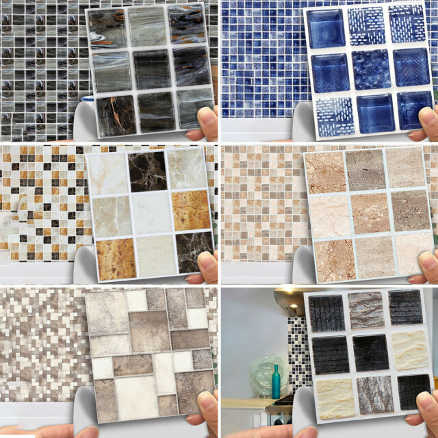Kitchen Tile Stickers Bathroom Mosaic Sticker Self Adhesive Wall Decor 12pcs For Sale Online Ebay