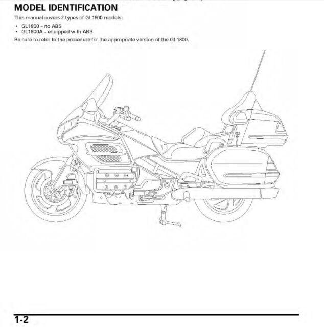 2001 Honda GL-1800/A Goldwing service repair shop manual