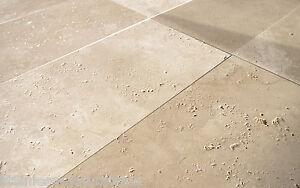 1x Travertin Light gebrstet Muster Platte 20x20x3cm