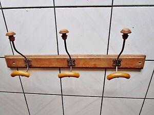 details sur ancien porte manteaux patere bois fer mural 1900 art deco 3 boules collectivite