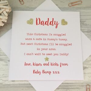 Love From The Baby Bump 1st Christmas Card Poem Daddy Dad