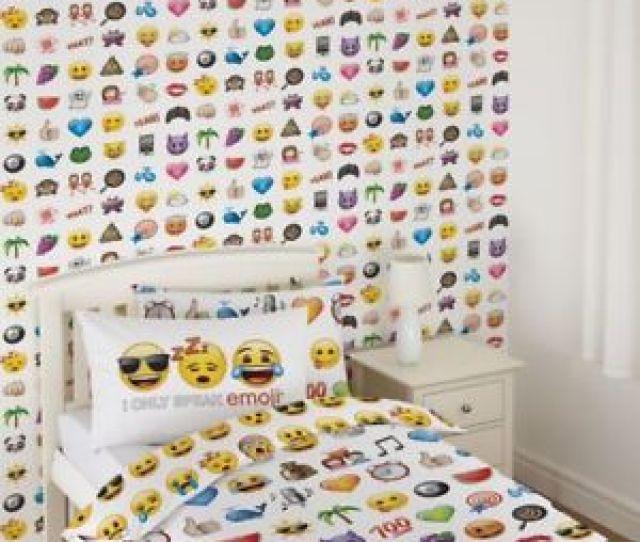 Image Is Loading Official Emoji Wallpaper Kids Bedroom Feature Wallpaper Debona