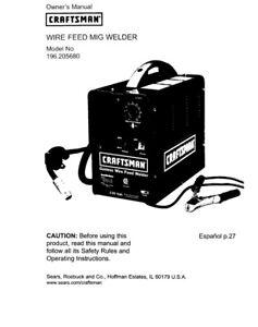 Craftsman 196.3205680 Mig Welder Owners Instruction Manual