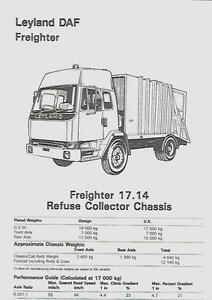 LEYLAND DAF FREIGHTER 17.14 REFUSE COLLECTOR CHASSIS LORRY