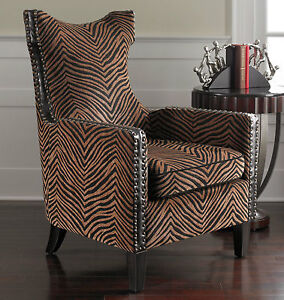 leopard print accent chair toddler soft designer high back animal contemporary safari ebay image is loading