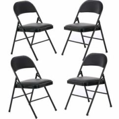 Black Padded Folding Chairs Chair Gym Hsn Ste Of 4 Fabric Soft Seat Compact Steel Back Strong