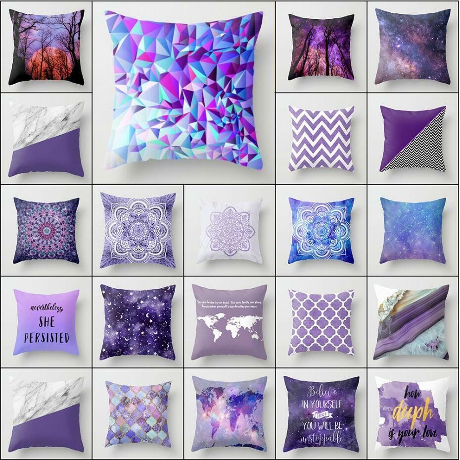 18 pillowcase purple pillow case sofa waist throw cushion cover home decor