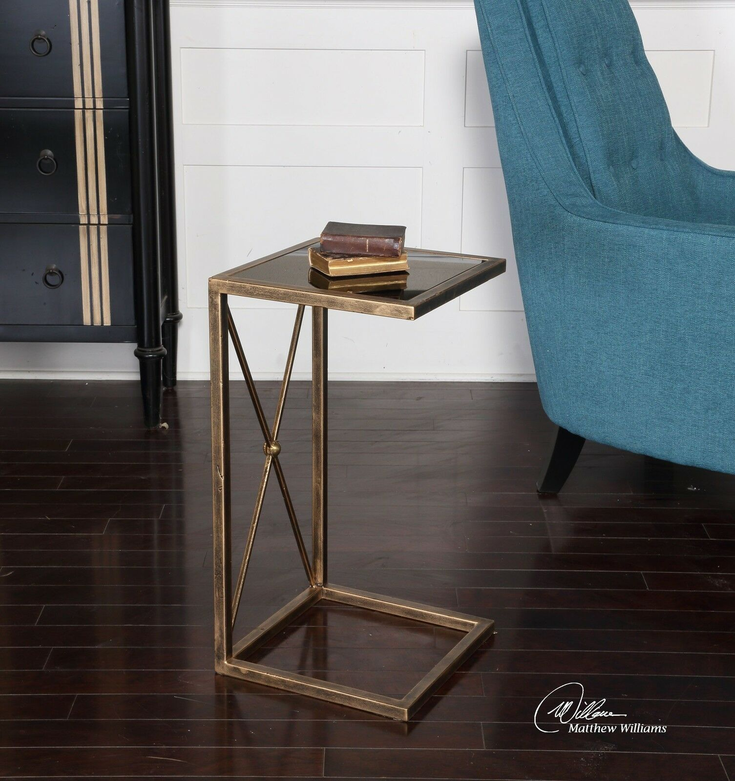 Open Gold C Side Table Minimalist Black Accent End