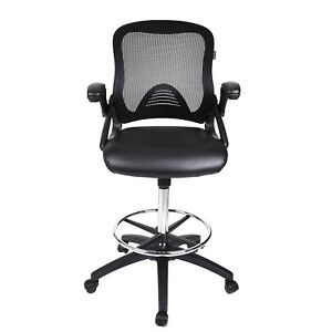 chair mesh stool small black drafting leather high back adjustable swivel image is loading