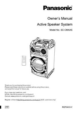 Panasonic SA-CMAX5 Stereo System Owners Instruction Manual
