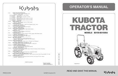KUBOTA TRACTOR B3150 B3150SU OPERATORS MANUAL REPRINT COMB