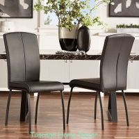 Dining Chair Set Modern Leather Black Accent Contemporary