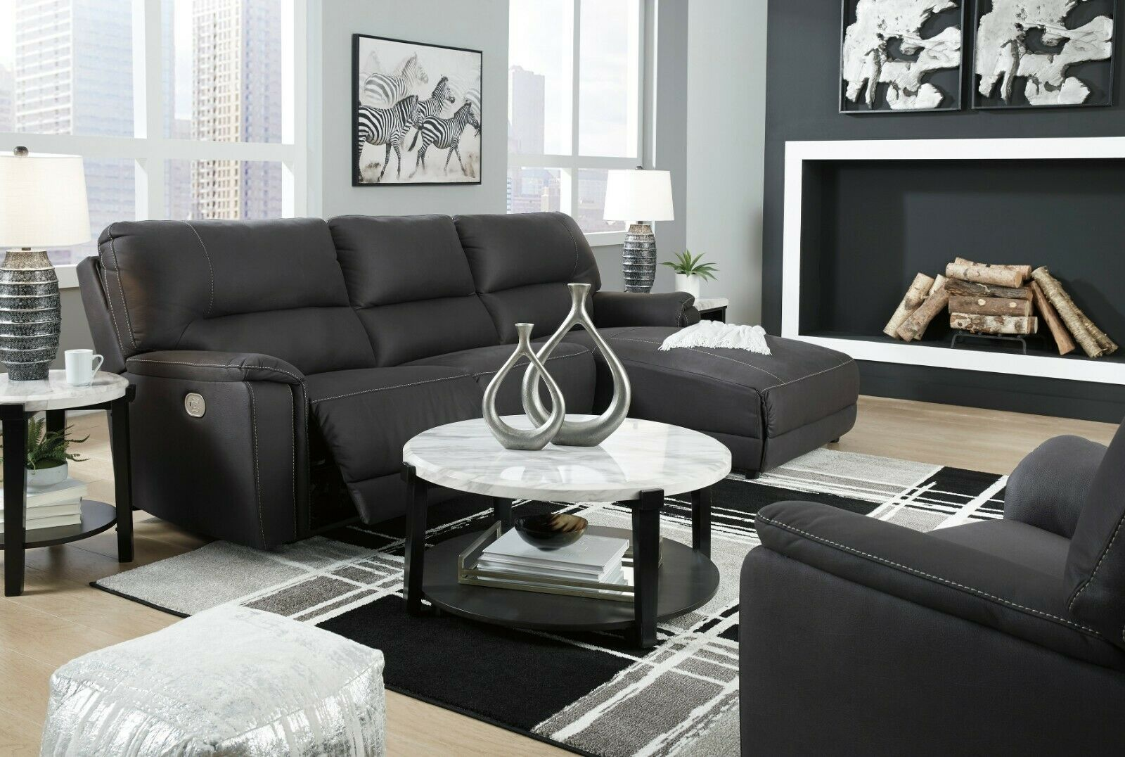 ashley furniture henefer 3 piece power recliner sectional