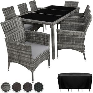 details sur ensemble salon de jardin en resine tressee poly rotin table chaises set 8 1