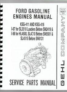 Ford I-67 I-98 KSG-411 KSG-416 Engine Parts Manual Catalog