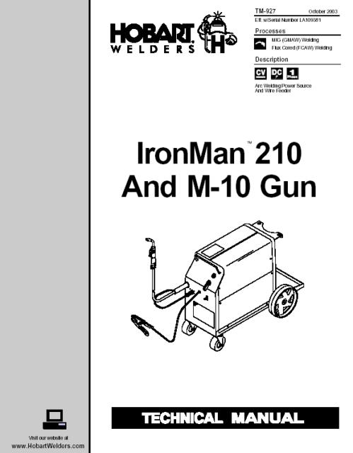 HOBART IRONMAN 210 AND M 10 GUN SERVICE TECHNICAL MANUAL