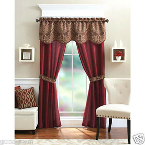 details about unique 5 piece complete window curtain set with tiebacks assorted colors