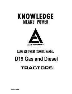 Allis Chalmers D19 Tractor Service Manual Book