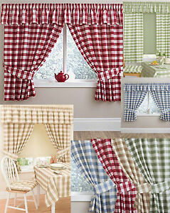 cheap kitchen curtains supplies online gingham checked matching pelmet conservatory image is loading utility