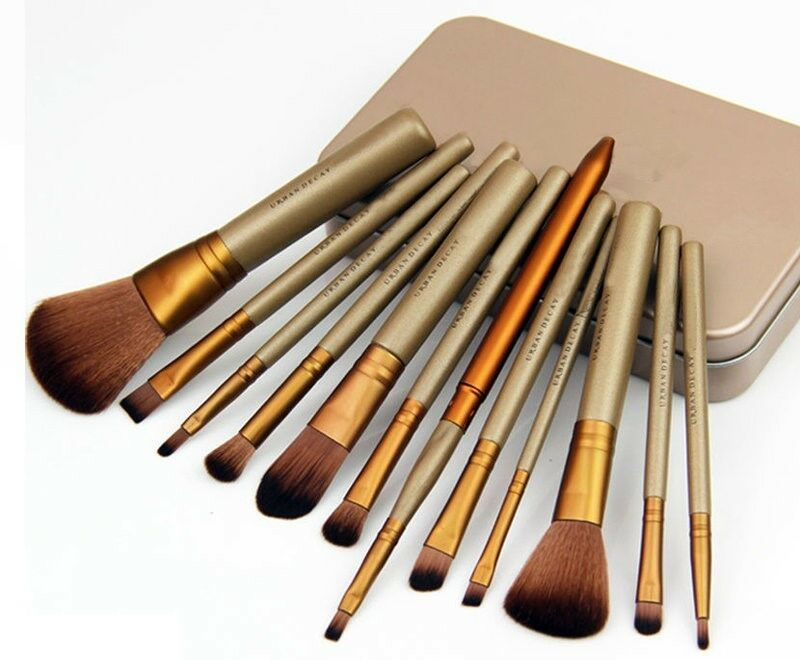 Gift 12 Pc Makeup Brush Set In Gold Tin Box Professional