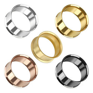 Stahl Flesh Tunnel Ohr Plug Piercing Double Flared Hollow Edelstahl Tube 2-51 mm