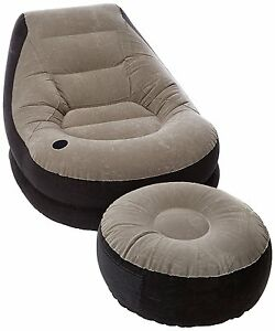 recliner bed chair oval back dining blow up w footrest inflatable ottoman couch sofa image is loading