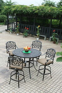 details about bar height patio furniture 48 round table 4 swivel bar stools cast aluminum