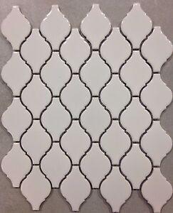 kitchen mosaic appliance garage kits white arabesque porcelain lantern tile backsplash image is loading