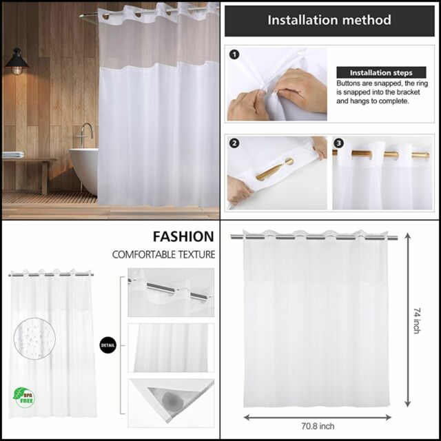 hookless shower curtain with removed fabric inner liner magnet 70 8 x 74 inch