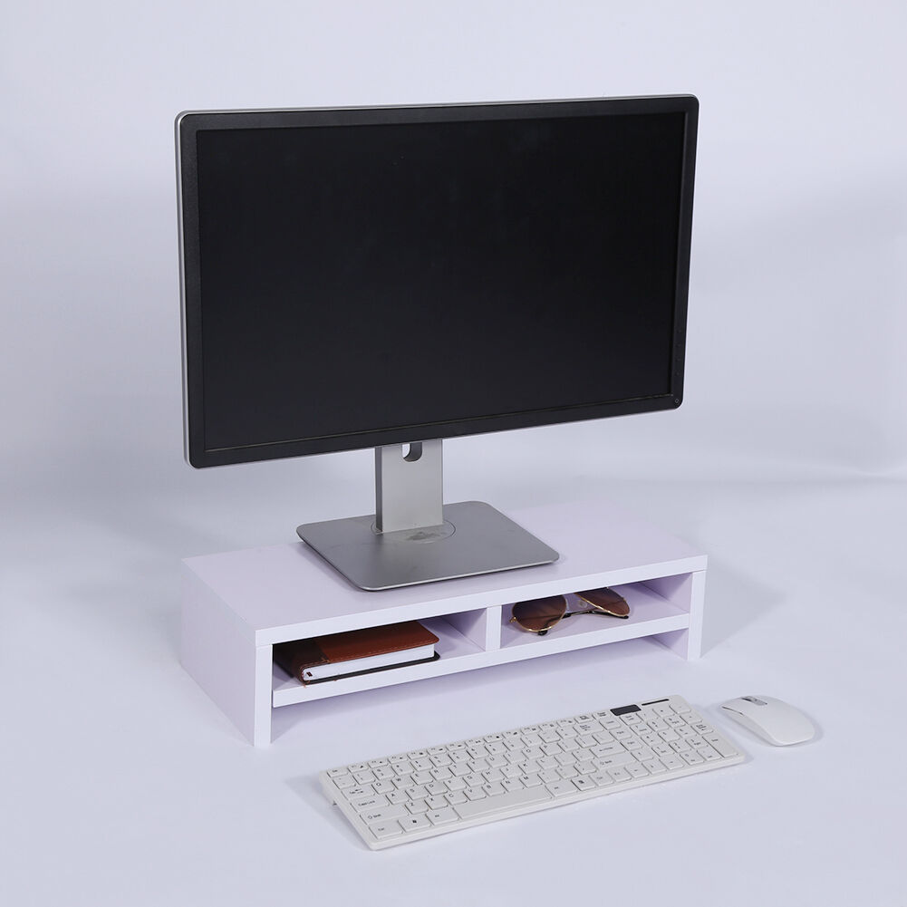 Wooden Monitor Stand LED LCD Desk Mount Bracket for Computer HomeOffice Wood  eBay