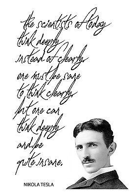 nikola tesla quote the scientists of today script poster print wall art ebay