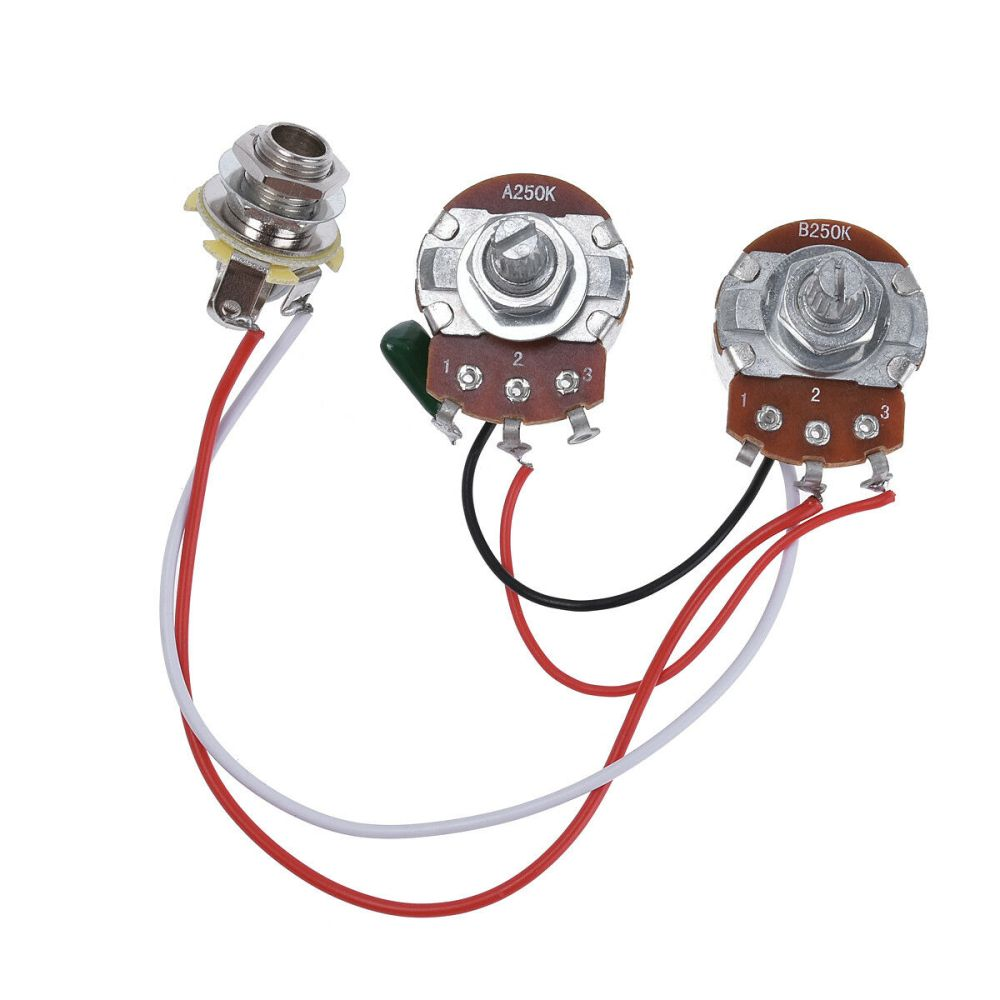 medium resolution of wiring harness prewired kit for precision bass guitar 250k pots 1 v 1 t jack