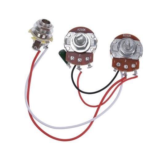 small resolution of wiring harness prewired kit for precision bass guitar 250k pots 1 v 1 t jack