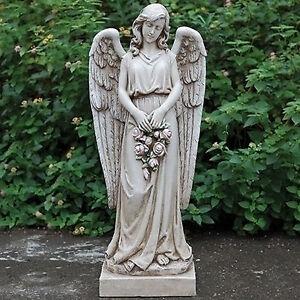 "36"" angel holding rose wreath indoor"