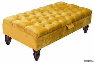 details about tiffany velvet large medium chesterfield buttoned upholstered footstool ottoman