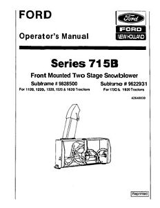 NEW HOLLAND Ford 715B Front Mount 2 Stage Snow Blower