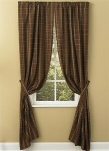 Country Primitive Tanner Chocolate Brown Curtain Panels 63 Rustic Plaid Decor EBay